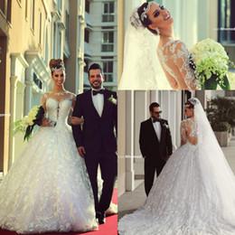 Vintage Arabic Long Sleeves Lace A Line Wedding Dresses Brides Muslim Wedding Ball Gowns Empire Waist Winter Vestidos De Noiva Said Mhamad