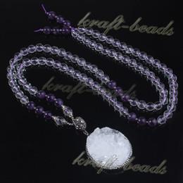 Fashion Natural Amethyst Quartz Rock Crystal Round Stone Beads Chain Druzy Rock Crystal Random Pendant Inlay Rhinestone Necklace Jewelry