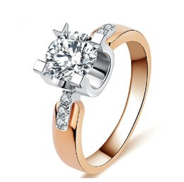 18K Rose gold filled Wedding Rings For Women Engagement Jewelry Vintage ring zirconia diamond Accessories 18KR015
