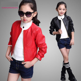 Wholesale-2015 Autumn Fashion Leather Jacket For Girls O-Neck Zipper Big Girl Coats 120-160cm Children's Leather Jackets For 6-14 Year