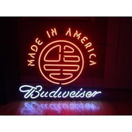 Wholesale AUTHENTIC NIB BUDWEISER MADE IN AMERICA NEON SIGN HANDICRAFT REAL GLASS TUBE BEER BAR LIGHT GAME ROOM HOME x15 quot