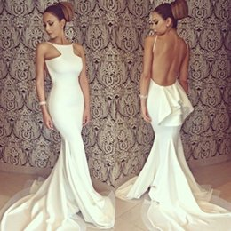 White Long Formal Evening Dresses Backless Mermaid Chapel Train Women Celebrity Prom Party Gowns Formal Wedding Bridesmaid Dress Real Photo