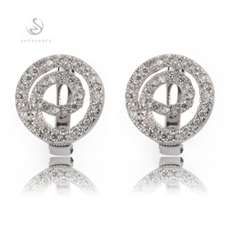 The new listing Promotion Noble Generous Best Sellers MN3171 Classic White Cubic Zirconia Shinning Copper Rhodium Plated Fashion Earrings