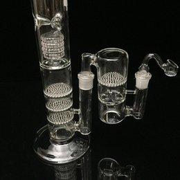 Nid d'abeille recycleur à vendre-Bong de verre Hookahs Recycleurs de pétrole Recycler 16 pouces de hauteur 18.8mm joint en verre de tuyaux d'eau Triple Recycleur de nid d'abeille et de cage d'oiseaux par cueilleur de cendres