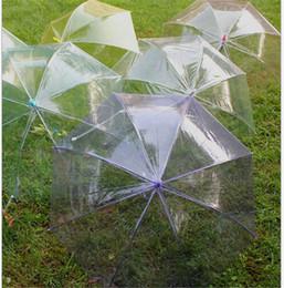 Wholesale Transparent Clear EVC Umbrella Fashion Dance Performance Long Handle Umbrellas Beach Wedding Colorful Rain Protective Umbrella