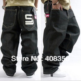 Wholesale-Plus Size Men's Simple Fashion Embroideried Letter Wide Leg Jean Pant, Hip Hop Casual Long Skateboard Pant Free Shipping