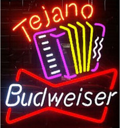 Wholesale Budweiser Tejano Accordion Neon Sign Handcrafted Beer Bar Custom KTV Club Store Concert Playing Neon Signs Real Glass Tube quot X15 quot