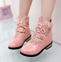 Wholesale Spring girls princess shoes girls pu leather shoes children s lace hollow out shoes wedding flower girl shoes