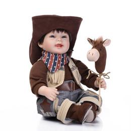 Wholesale 22 quot cm American West Cowboy Lifelike Reborn Toddler Baby Doll Reborn Boy Girl Baby Doll Gift Boy