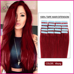 Brazilian Virgin Tape in Hair Extensions 16-24inches Tape Skin Hair Weft 20pcs Lot Remy Human Hair Extension #Burg