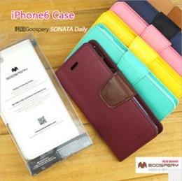 Coréenne Original MERCURY Goospery Sonata Diary Seriers Portefeuille Étui en cuir pour iphone 6 / Plus Samsung Galaxy S3 S4 S5 Note 3 i8190 (A0347) à partir de mercure cas s4 fabricateur