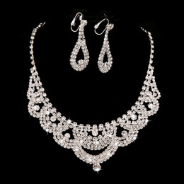 2015 Bridal necklace earring sets chain new piece of high-grade diamond jewelry cheap price free shipping