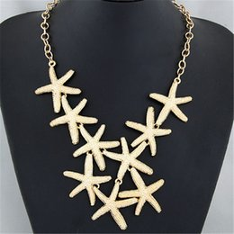 Wholesale-Fashion Metal Starfish Trendy Joker Fashion Style Necklace Gold Silver Black Colorful Pendant Necklace