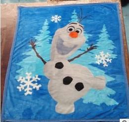 Wholesale Frozen Olaf Raschel Manta muñeco de nieve congelada aventuras olaf animado Congelado mantas raschel NUEVO CALIENTE EN STOCK