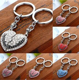 Wholesale Fashion keychains Mother s day mom daughter full drill peach mood couple girlfriends heart shaped pendant key chain key rings new