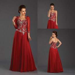 High Quality Beautiful Dark Red Mother's Dresses Sweetheart Floor-length Taffeta Mother Of The Bridal Dresses with Long Sleeve Jacket