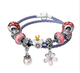The new hand rope diy alloy beads purple real leather rope double bracelet LB006 for popular European style Gepanduola