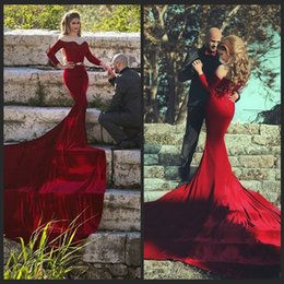 Mermaid Custom Burgundy Arabic Evening Dresses vestidos de festa Robe de soiree Cheap Velvet Long Sleeve Burgundy Prom Dresses