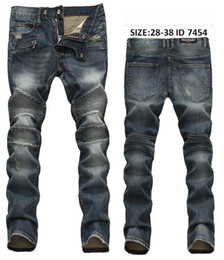 Wholesale New Arrive Skinny water wash Motorcycle mens jeans desinger B7454 in single cow thickened Slim paris top quality plugs men s jeans