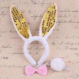 Women Girls Plush Sequin Sexy Bunny Rabbit Ears Headband Tie Tai headwear Party Decor Accessories Gift