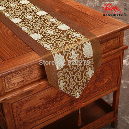 Gorgeous Patchwork Silk Brocade Holiday Dining Table Runners Chinese knot Coffee Table Cloth Decorative Bed Runner L200 x W35cm