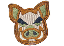 Embroidery Pig Patch Cloth Hook And Loop Tactical Morale Patches Combat Badge Army Armband 2pcs.