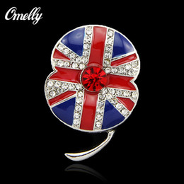 Wholesale UK Flag Poppy Flower Shaped Crystals Brooch Bouquet Pin Rhinestones Monumental Badges Christmas Jewelry in Bulk