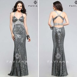 Luxury Crystals Silver Sequins Celebrity Runway Fashion Halter Mermaid Evening Gowns Faviana 2015 Plus Size Sexy Backless Prom Party Dresses