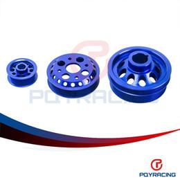 Wholesale PQY STORE LIGHT WEIGHT CRANK PULLEY FOR NISSAN SKYLINE Z33 Z Fairlady GT V35 BLUE