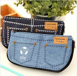 Cute school supplies creative denim shorts school pencil case high capacity kawaii pencil case canvas cosmetic bag coin purse