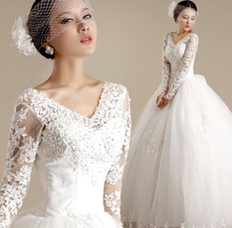 Wholesale cheaplong sleeve lace applique v neck A Line Wedding Dresses floor length ball gown Wedding Dress Manufacturer China Factory for Brides