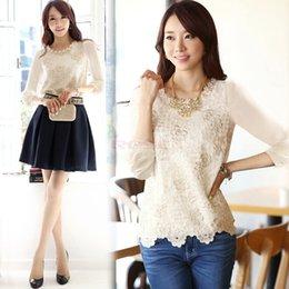 Wholesale Latest Trendy Elegant Office Lady Embroidered Long Sleeve Blouse Off White Beading Shirt