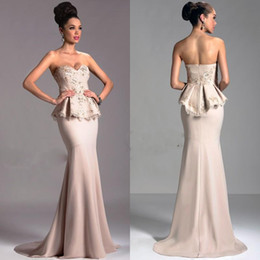 Champagne Evening Gowns 2016 Lace and Chiffon Mermaid Party Dress Sweetheart Backless Long Dresses Applique Beades