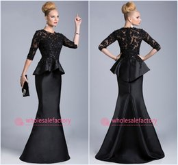 Wholesale 2015 Black Evening Gowns Sheer Crew High Neck Half Long Sleeves Appliques Lace Beaded Peplum Sheath Formal Dresses Vestido Formales