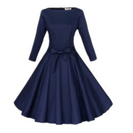 Wholesale-2016 Women Pinup Vintage 50s Retro Rockabilly Club Dress Plus Size Party Dresses Long Three Quarter Sleeve Black Ball Gown Dress