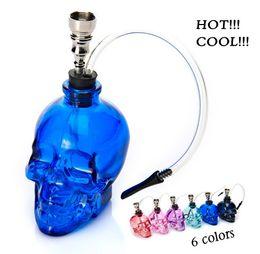 6 Colors Skull Head Glass Bong Popular Glass Hookah Pipe Durable Mini Shisha Tobacco Smoking Cheap Water Pipe Unique Design Wholesale
