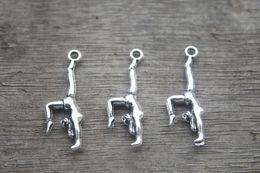 Wholesale 25pcs Gymnastics Charms Antique Tibetan Silver Tone Double Sided Gymnast charm pendants x11mm