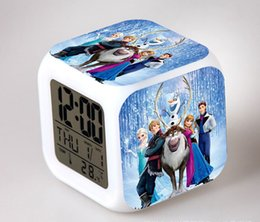 Wholesale Cartoon Animated Frozen Alarm Clock LED Colorful Glowing Colors Change Digital Alarm Clocks Thermometer Party Gift DHL Factory Price