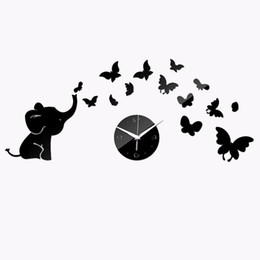 Wholesale Watches Fashion Personality Mirror Perspective Wall Clock Elephant Butterfly Wall Clock