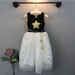 New arrival Girl summer princess lace Dress Star Gauze Long Sundress