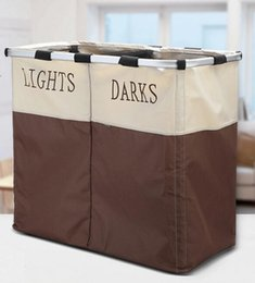 Wholesale Giant Laundry Basket Foldable Easycare Double Hamper Sections Laundry Hampers Clearly Marked Dual Baskets Storage