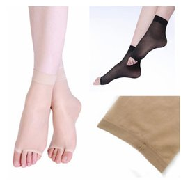 Wholesale-1 Pair Summer Womens Ladies Girls Peep Toe Ankle Socks Sandal Toeless Ankle Socks - Comfortable, Color: Apricot
