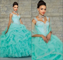 Wholesale Top Selling Mint Green orange Quinceanera Dresses Ball Gowns With Wrap Debutante Dress For Years amazing crystal occasion gown
