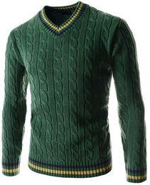2016 New knit shirts mens sweaters fashion stripe stitching Knitting sweater for men slim fit free shipping