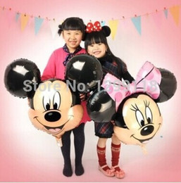 Wholesale-10pcs  lot Cartoon Mickey Minnie Mouse Helium Foil Balloons Red Minnie Birthday Party Decorations Inflatable Balloons Globos
