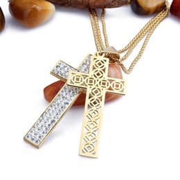 Wholesale FC Korean fashion long sweater chain necklace female Korean wild double cross diamond jewelry full of clothing accessories KL