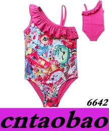 Wholesale Summer Baby Girl Bathing Suits - pink color One Pieces Shopskin Swim Suits 2016 Baby Girls Summer Beachwear Bikini Bathing Children Summer Costume 4T-9T Free Shipping
