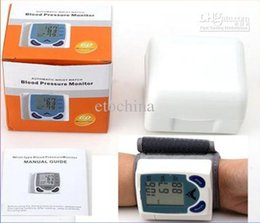 Wholesale New Wrist Cuff LCD Digital Blood Pressure Pulse Monitor Heart Beat Meter with LCD Display in retail box
