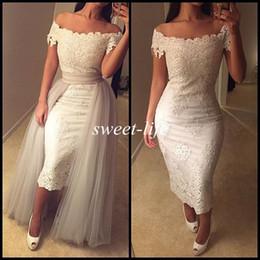 New Sexy Prom Dresses White Lace Tea Length Off Shoulder Short Sleeve Detachable Train 2019 Vintage Women Evening Gowns Party Cocktail Dress