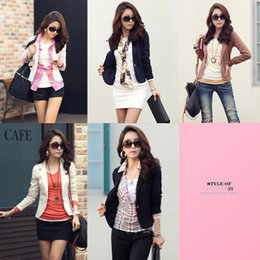 Wholesale New Fashion Lady Women Blazer Slim One Button Long Sleeve Leisure Coat Jacket Black Colors